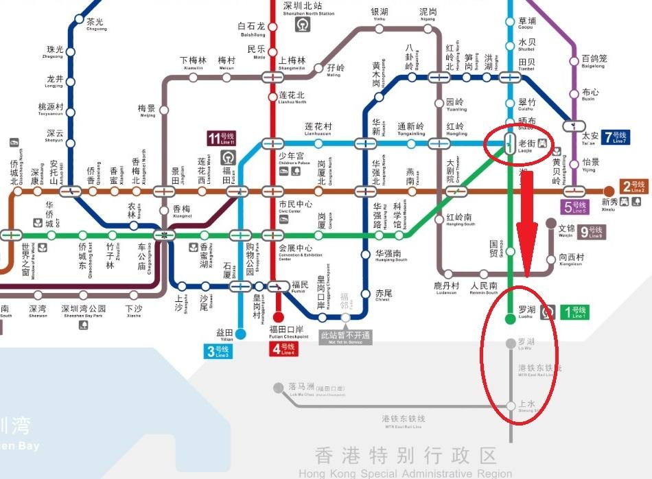 深圳から香港への路線図